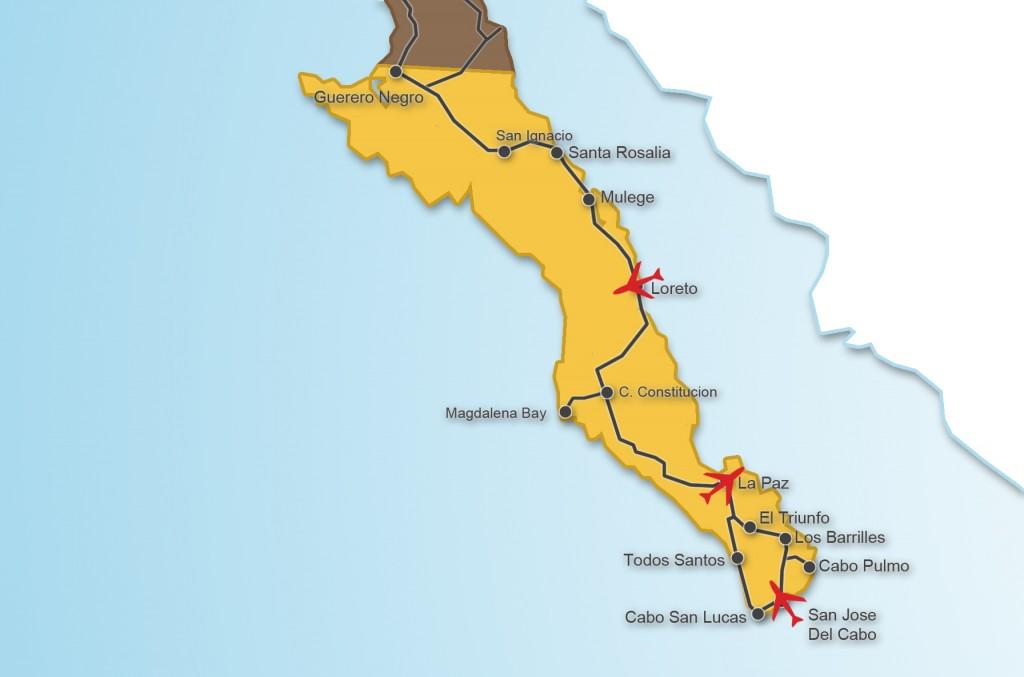 Loreto by car Baja Road Map: around