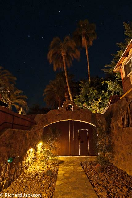 Hacienda Style Mexican Home entrance night
