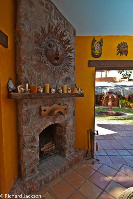 Hacienda Style Mexican Home in Loreto fireplace