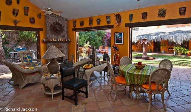 Hacienda Style Mexican Home in Loreto living room open