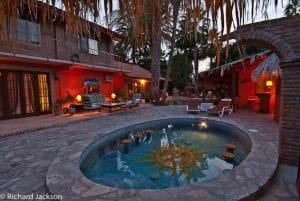 Hacienda Style Mexican Home in Loreto pool area night