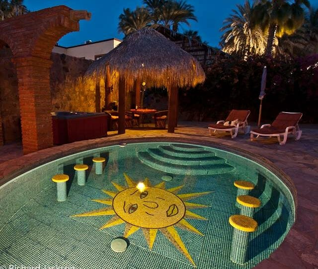 Hacienda Style Mexican Home in Loreto pool night