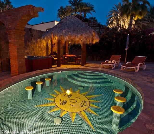 Hacienda Style Mexican Home in Loreto pool night