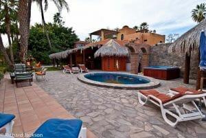 Hacienda Style Mexican Home in Loreto yard looking West