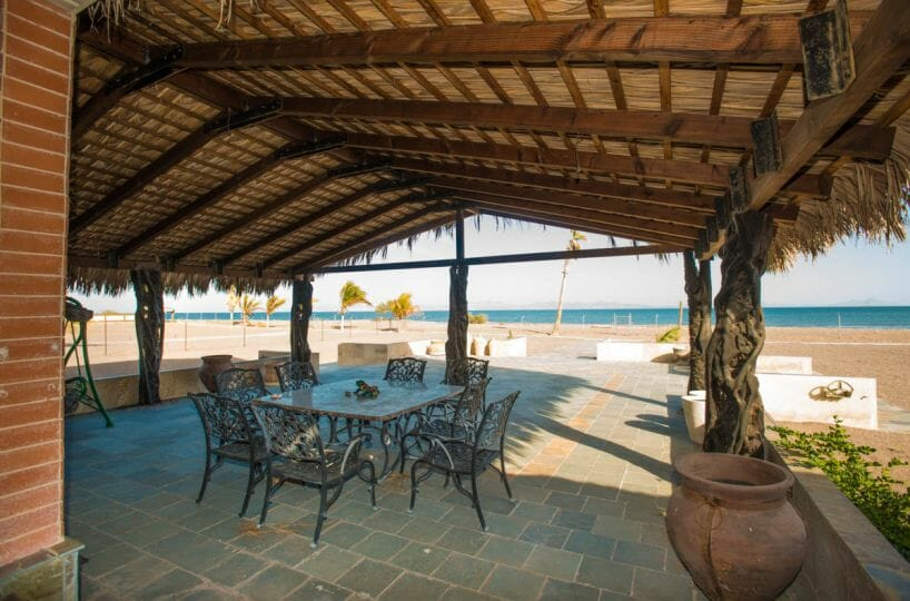 Beachfront House in Loreto Baja Palapa covered terrace