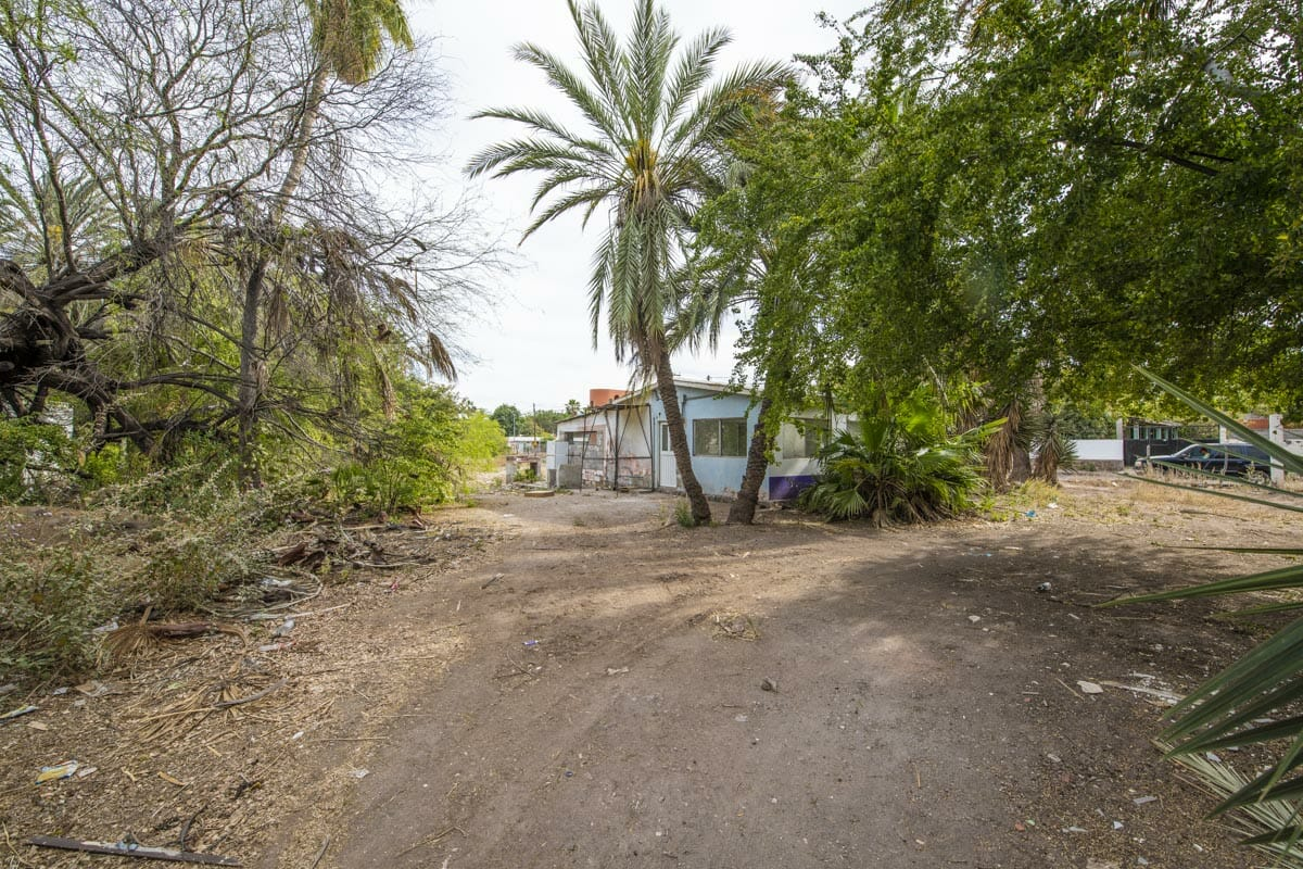 Large Lot in good location ready to build or subdivide in Loreto: Corner of Misioneros y Atanasio Carrillo. Looking South.