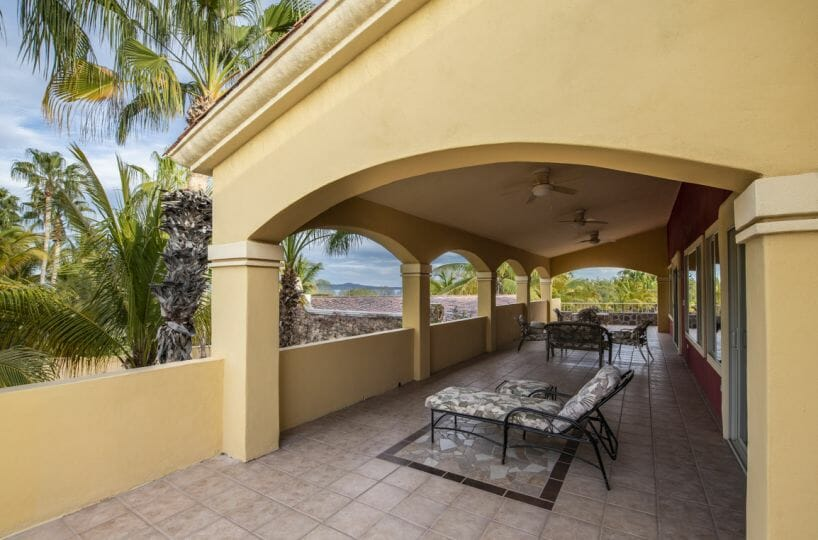 Four bedroom home in Loreto on large lot with sea and mountain views!: Wide terrace off of East side