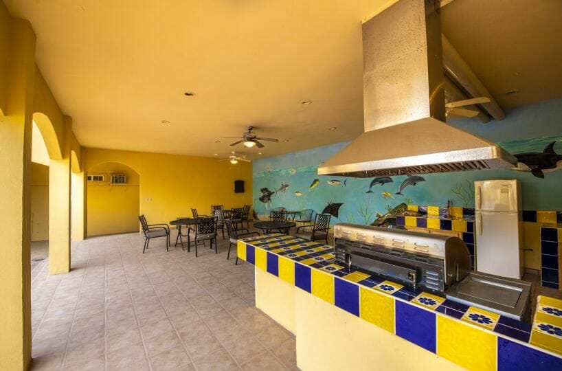 Four bedroom home in Loreto on large lot with sea and mountain views: covered outdoor entertainment area.