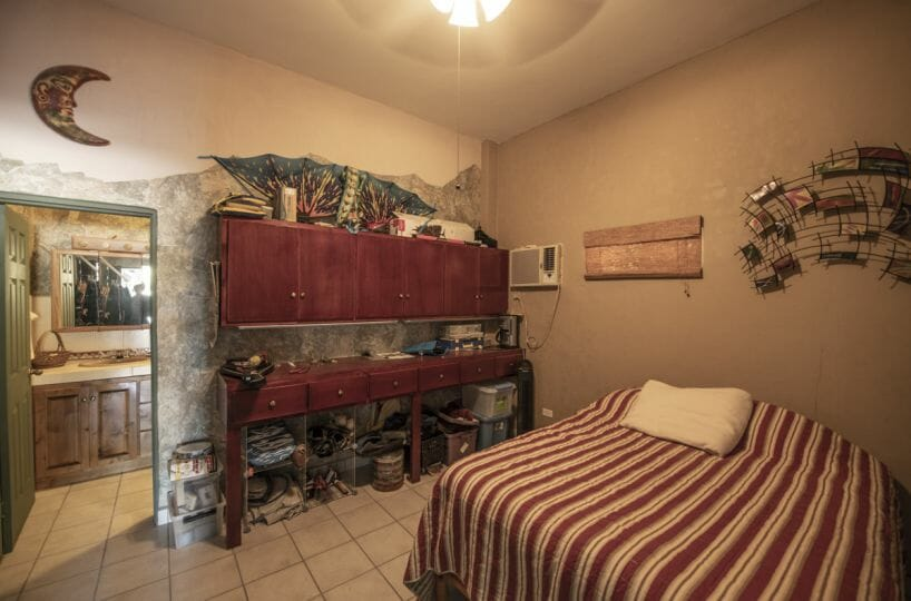 Four bedroom home in Loreto on large lot with sea and mountain views: downstairs bedroom and bath