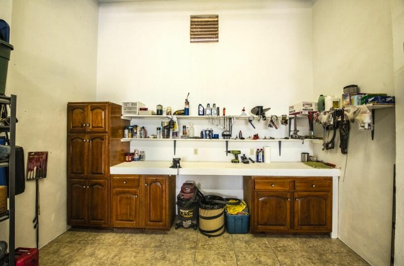 Four bedroom home in Loreto on large lot with sea and mountain views: garage workbench.