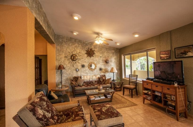 Four bedroom home in Loreto on large lot with sea and mountain views!: living room off of dining room.