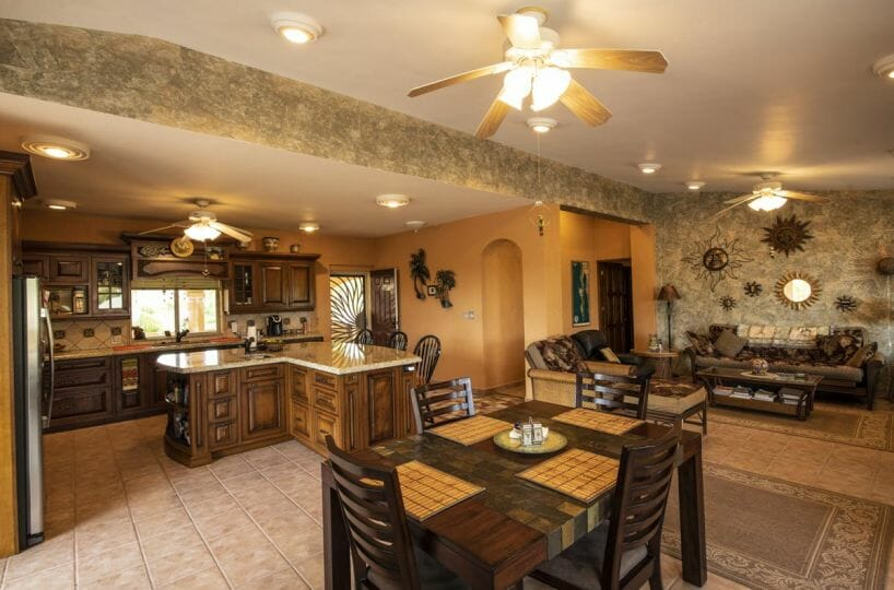 Four bedroom home in Loreto on large lot with sea and mountain views!: open kitchen living and dining
