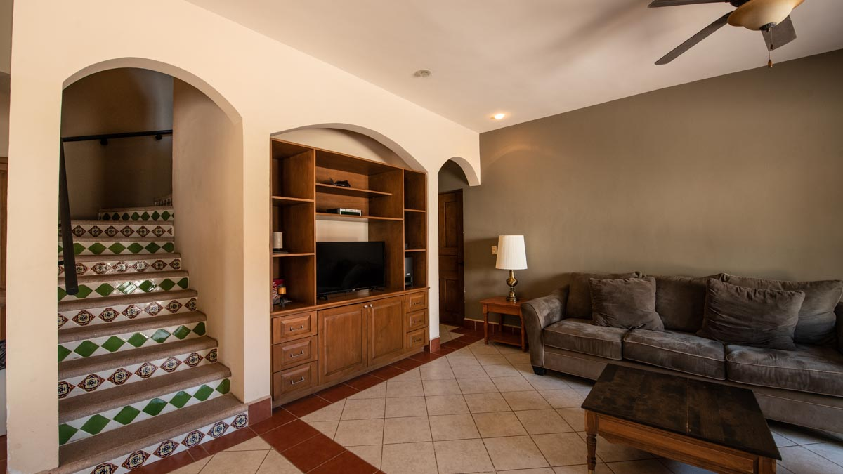 Casa Dos in Casa Escondido's: Casa Uno stairs. 2 Bd 2 Bth Hm in private neighborhood, Loreto.
