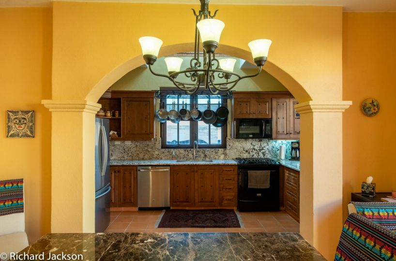 Loreto Bay Home with views and private pool: Arched opening to kitchen