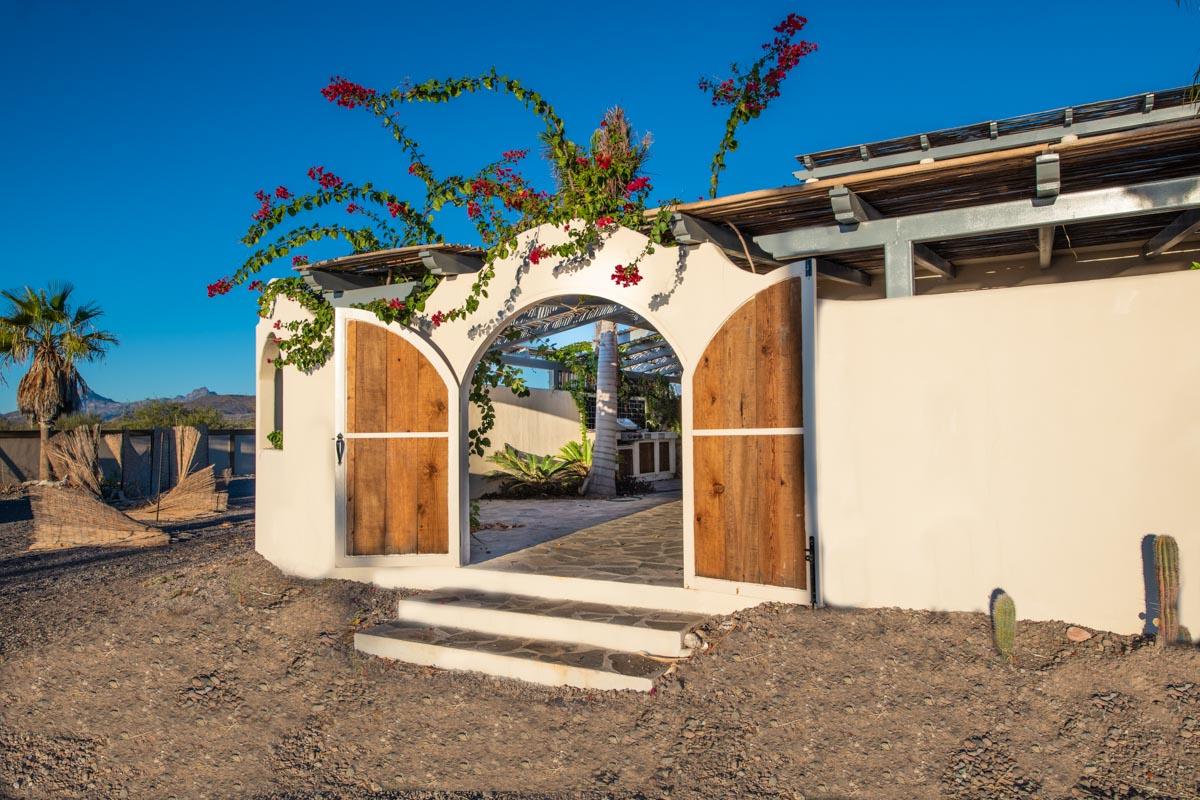 New Beachfront Home in Mil Palmas, Loreto Baja Sur: Gate to inner courtyard