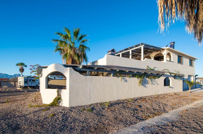 New Beachfront Home in Mil Palmas, Loreto Baja Sur: North side of house