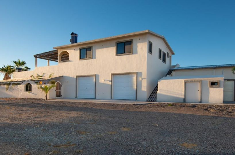 New Beachfront Home in Mil Palmas, Loreto Baja Sur: North side view of casa and garages