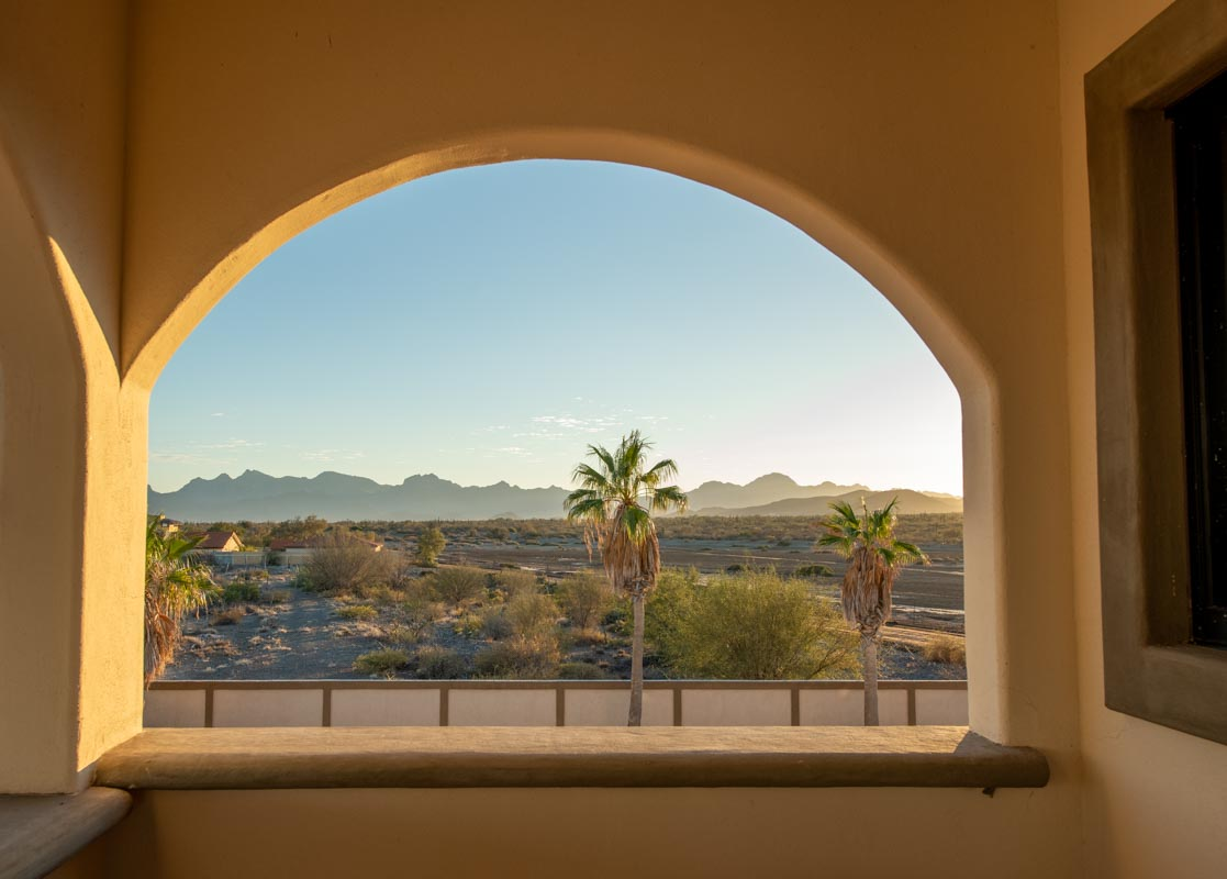 New Beachfront Home in Mil Palmas, Loreto Baja Sur: beach house mountain view