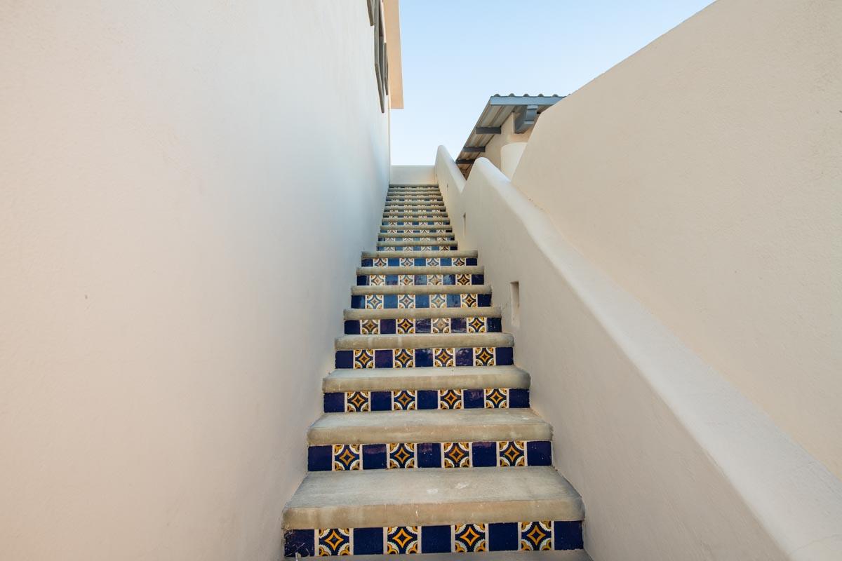 New Beachfront Home in Mil Palmas, Loreto Baja Sur: upstairs living area: exterior stairs