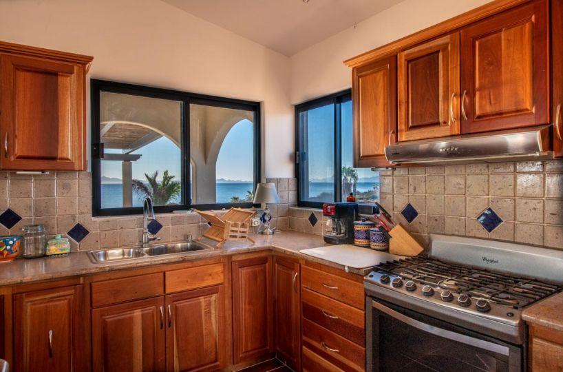 New Beachfront Home in Mil Palmas, Loreto Baja Sur: upstairs living area: kitchen upstairs