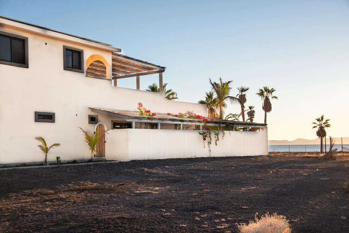 New Beachfront Home in Mil Palmas, Loreto Baja sur: south side of house