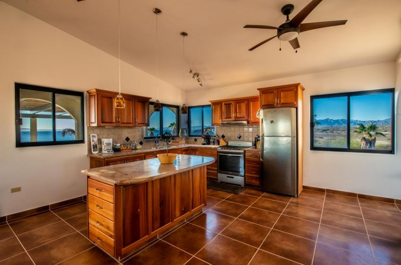 New Beachfront Home in Mil Palmas, Loreto Baja Sur: upstairs kitchen