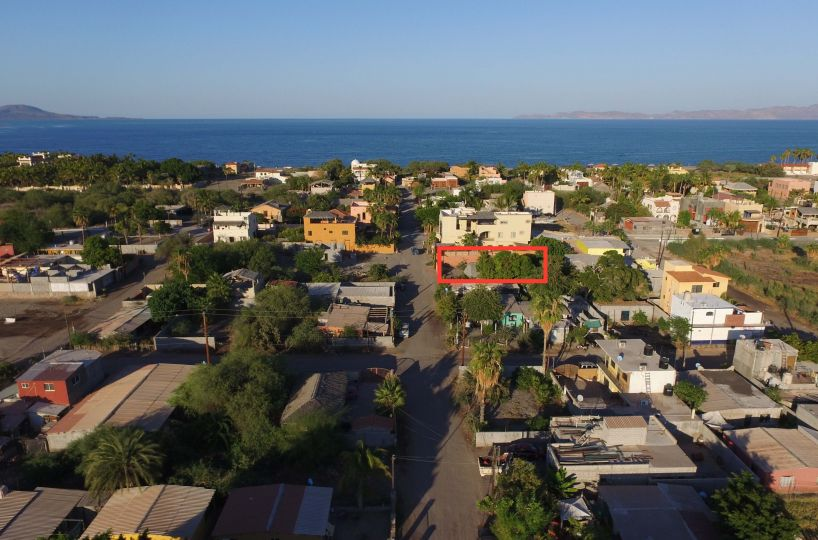 Tree filled lot with casita and palapa covered trailer and terrace near the beach: Loreto, BCS. Mex Cell 613 118 2207 ~ USA cell 530-786-4395