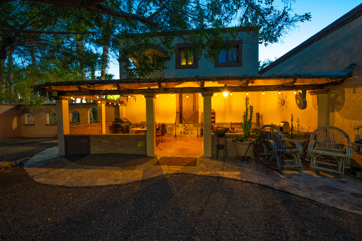 Beautifully restored four bedroom adobe home night view