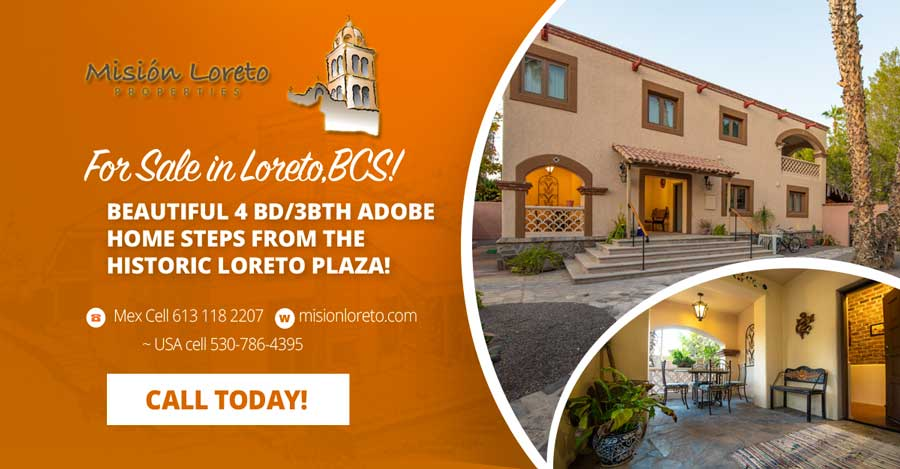 Beautifully restored four bedroom adobe home ideally located steps from the historic plaza in Loreto