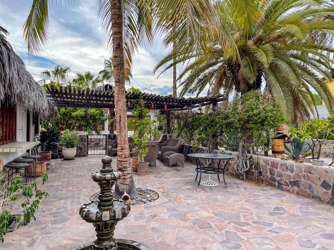 2 bed/2bath casa in private community: fountain on patio.