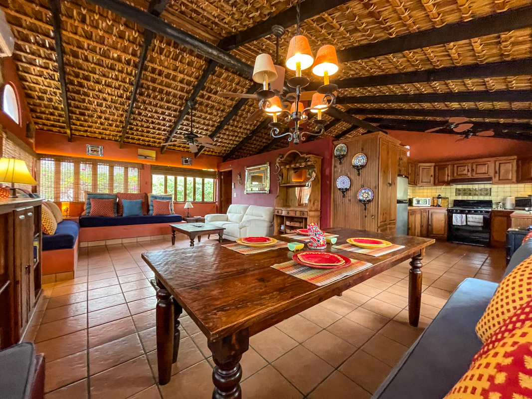 2 bed/2bath casa in private community: open dining, living and kitchen.